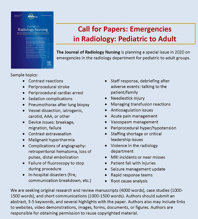 Call for Papers: Emergencies in Radiology: Pediatric to